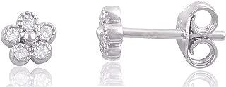 Sterling Silver Cz Tiny Flower Stud Earrings