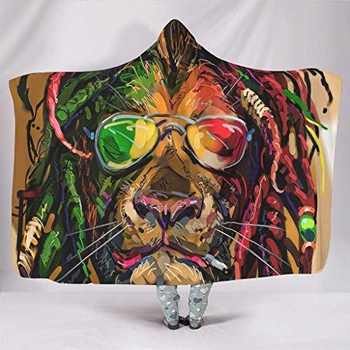 Rainbow Lion Gafas de sol Hip Hop Print Manta con capucha suave invierno Sherpa Fleece Hoodie blanco, 130 x 150 cm