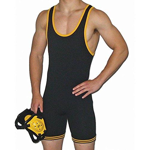 MatmanErwachsene 83 Nylon Wrestling Ringeranzug, Mehrfarbig (schwarz / gelb), X-Large