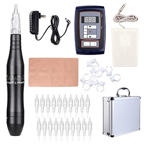 Solong Tattoo Pen Kit Hybrid Rotary Tattoo Machine Permanent Makeup Pen Kit Power Supply 20 Needle Cartridges EK511A (Black)