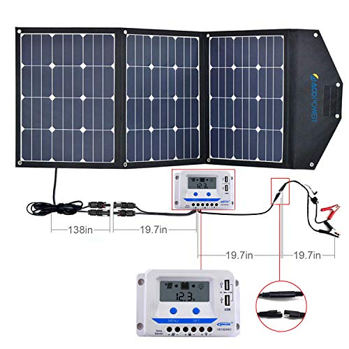 ACOPOWER 120W Portable Solar Panel Kits, 12V Foldable Solar Panel with 10A Charge Controller in Suitcase