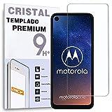 REY Protector de Pantalla para Motorola Moto One Vision, Cristal Vidrio Templado Premium