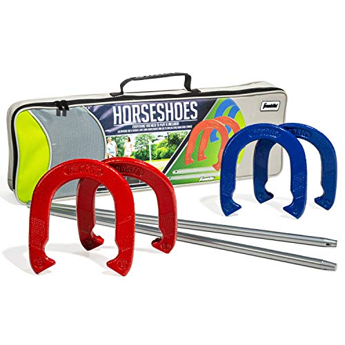 Franklin Sports Horseshoe Set - Steel Horseshoes and Stakes - Official Size and Weight - Perfect for Yard and Beach - Intermediate