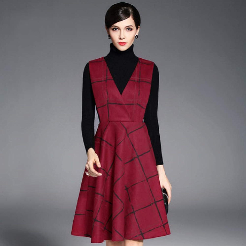 CVCCV Autumn Dress 2019 New Women's Red Plaid Slim Sling Dress Sleeveless Slim Vest A Word Skirt