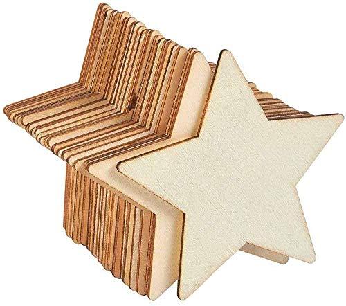 50 piezas de madera en forma de estrella, adornos de madera, rebanadas...