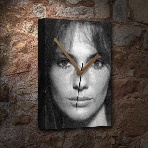 JACQUELINE BISSET - Canvas Clock (A5 - Signed by the Artist) #js001