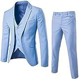 Traje de 3 Piezas para Hombre con Chaqueta, Chaleco y Pantalones Azul Claro M
