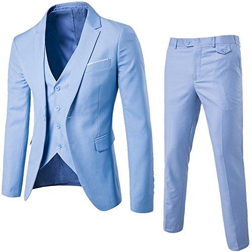 Homme Haut de Costume Trois-Pièces d'affaire Mariage Business Suit Veste & Gilet & Pantalon Bleu Clair M