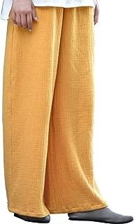 CHLXI Pantalones Kung Fu Tai Chi Pantalón Sport Pantalones Pantalones Anchos, Sueltos, Salvajes, de Doble Capa, de algodón y Lino, Ropa de Primavera y Verano para Mujeres.