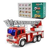 GizmoVine Jouet Camion Pompier à Incendie pour Enfants 3 Ans Voitures Miniatures Véhicules à Inertie avec Force de Friction et Cadeaux Sonores (1 Pompier echelle)