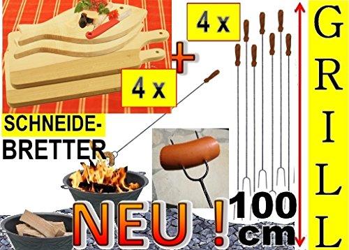 4x Steakteller Grillbrett Holz + 4x große Grillspiesse, 100 cm lang, lange Spiesse Gabel-Spieß + massive Schneidebretter, 2x Servierplatte groß viereckig 42x 22 cm + 2x Fisch 35x 16cm, Grillbrett Servierbrett für Wurst,Fisch, Raclette, Brotzeitbrett mit Griff, Platzteller, Frühstücksbrett, Bayerisches Brotzeitbrettl, massives Schneidbrett, Anrichtebrett, Frühstücksbrett, Brotzeitbretter, Steakteller , Schinkenteller von BTV, Holz,rustikal