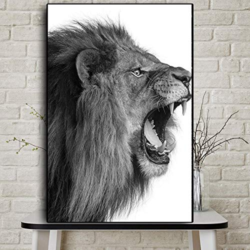 wZUN Wild Angry African Lion Animal Landscape Canvas Painting Posters and Prints Living Room Mural Pictures 60x90 Frameless