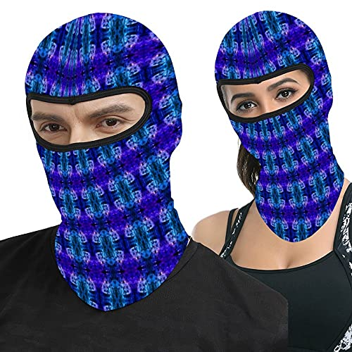 Lesif Abstract Glass Teal Purple Pattern Full Face Ma-sk Hood Headwear Breathable Balaclavas for Outside Sports Hunting Cycling Motocycling Men Women