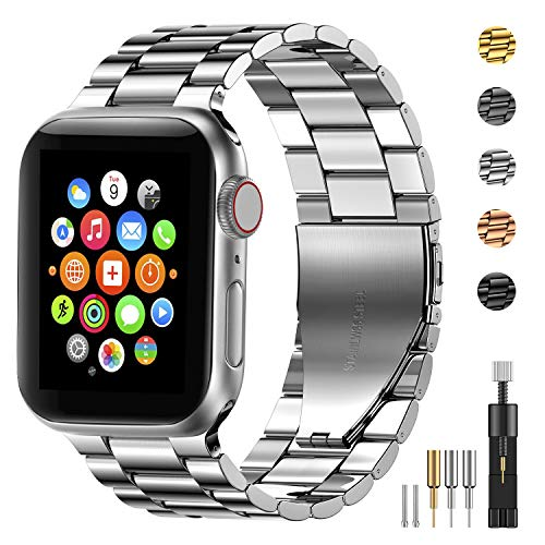 Fitlink Stainless Steel Metal Strap Replacement Link Bracelet Band Compatible with 2019 Apple Watch Series 5 Apple Watch Series 1/2/3/4 38/40mm and 42/44mm(Silver, 38/40 mm)