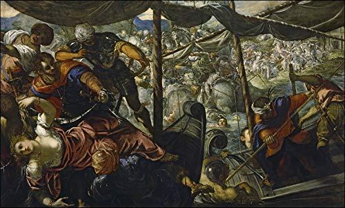 "Jacopo Tintoretto The Rape of Helen 1578 Museo Nacional del Prado 24"" x 14"" Fine Art Giclee Canvas Print (Unframed) Reproduction"