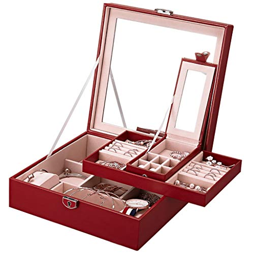 Lcb Trousse de maquillage avec cadenas Boîte à bijoux Boîte de rangement Bijoux Bijoux Bracelet de boîte de bijoux rouge