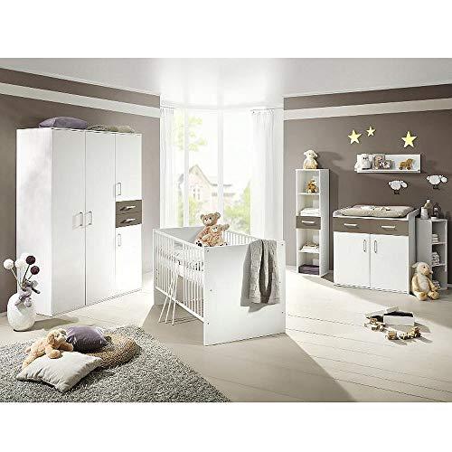 storado.de Babyzimmerset Sienna 8tlg. weiß matt Lava Komplett Set mitwachsend Gitterbett