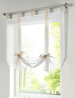 LivebyCare 1pcs Bowknot Tie-Up Roman Shades Tab Top Sheer Balcony Balloon Window Curtain Voile Valance Drape Drapery Panels for Home Decor Decorative