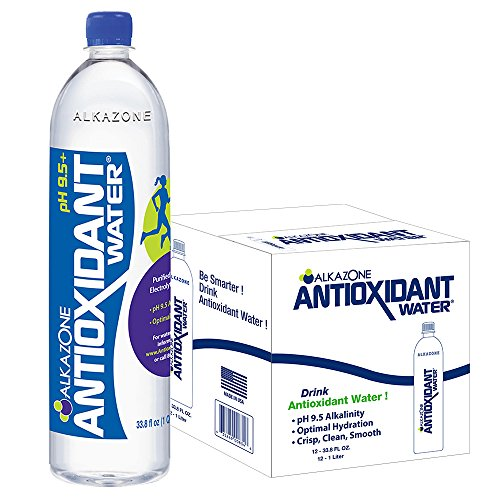 Alkazone Antioxidant Alkaline Bottled Water l Enhanced with Antioxidants l Purified Water with Electrolytes Added for Taste l pH Balanced to 9.5 l 33.8 oz (Pack of 12)