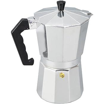 Cafetera de café moca, cafetera italiana para espresso de aluminio, 1/3/6/9/12 tazas, café moca, estufa superior Macchinetta para estufa de café de cuerpo completo 50 ml plateado / negro: Amazon.es: Hogar
