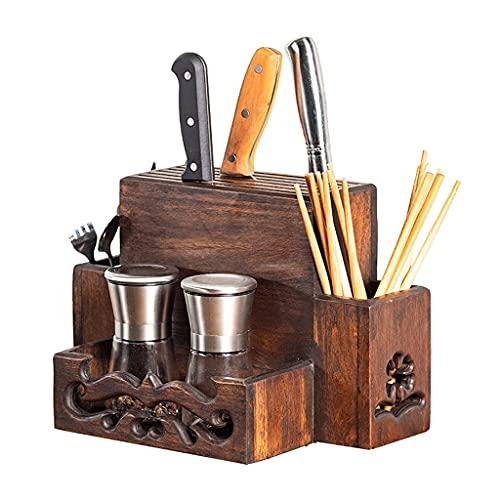TNSYGSB Soporte de Cuchillo de Madera Maciza Multifuncional, Bloque de Cuchilla de Pared/de Escritorio, para el hogar de utensilio de Cocina para el hogar, sin Cuchillos Cuchillos Cocina