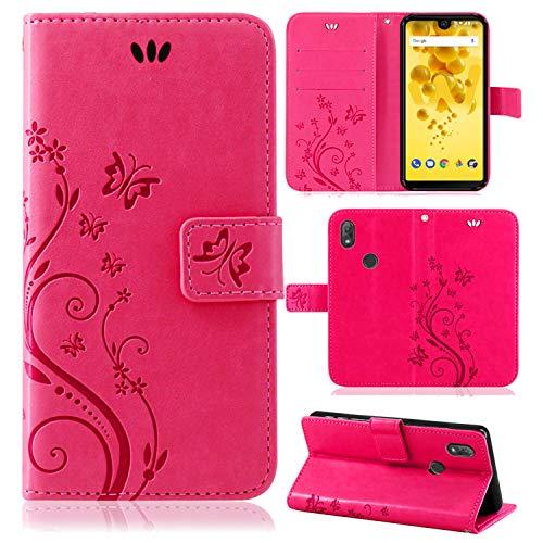 betterfon | Wiko View 2 Hülle Flower Hülle Handytasche Schutzhülle Blumen Klapptasche Handyhülle Handy Schale für Wiko View 2 Pink