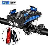 FANLIU Soporte for Bicicletas Soporte for teléfono Motocicleta Ayuda Soporte del GPS con la luz 2000Ah Manillar de la Bici Monte Smartphone (Color : 2000ma Blue Set)
