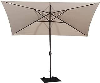 Abba Patio Rectangular Patio Umbrella Outdoor Market Table Umbrella with Push Button Tilt and Crank, 6.6 by 9.8 Ft,Cream