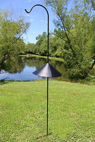 Ashman Black Shepherd Hook 92 Inch, 15MM Thick, Super Strong, Rust Resistant Steel Hook Ideal for Use at Weddings, Hanging Plant Baskets, Solar Lights, Lanterns, Bird Feeders & More (2, Black)