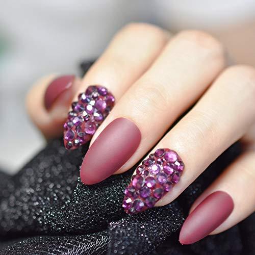 QSDFG druk op de nagels door de gebruiker gedefinieerde volledige strass decoratie design nagels extra lang wijnrood gel shiny nail tips 24