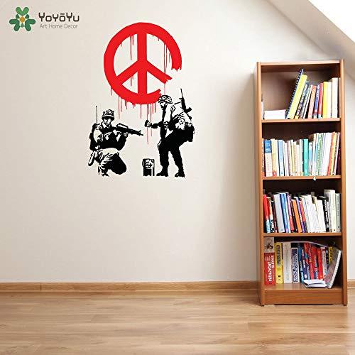 Tatuajes de Pared Etiqueta de Vinilo Banksy Paz Propaganda símbolos de Paz con Soldado Inicio Casa Arte Decoración Cartel Mural Diseño 76X110cm