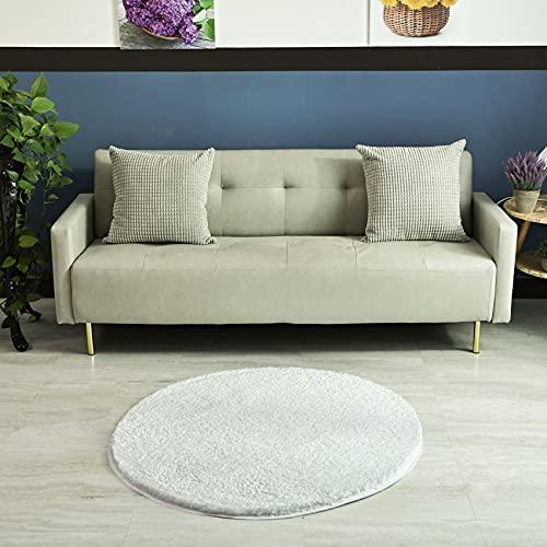 HEXIN Teppich rund 100cm,Teppich rund,Dicker Flor runde Wohnzimmer Moderne Teppiche ohne Schuppen und Schlafzimmer runder ,Teppich grau (Weiß, 100x100cm)