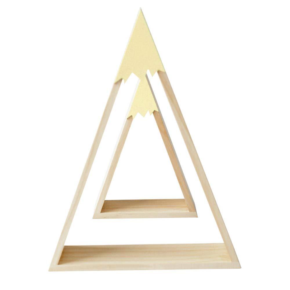 skwff estantería de Pared en Escalera Viento nórdico Nieve de Madera triángulo de montaña Estante de la casa habitación de los niños decoración del hogar Amarillo (uno Grande pequeño): Amazon.es: Hogar