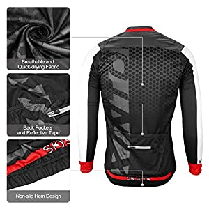 SKYSPER Ciclismo Maillot Hombres Jersey Pantalones Largos Culote Mangas Largas de Ciclismo Conjunto de Ropa Maillot Otoño Invierno Primavera 3D Acolchado para Deportes al Aire Libre Ciclismo Bicicleta