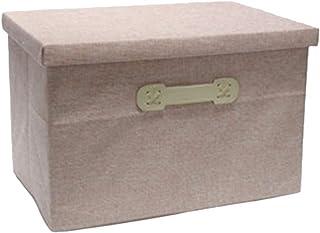 Demarkt Boîtes de Rangement Pliable Paniers de Rangement en Tissu de Coton Boîte de Rangement avec Couvercle Récipient de ...