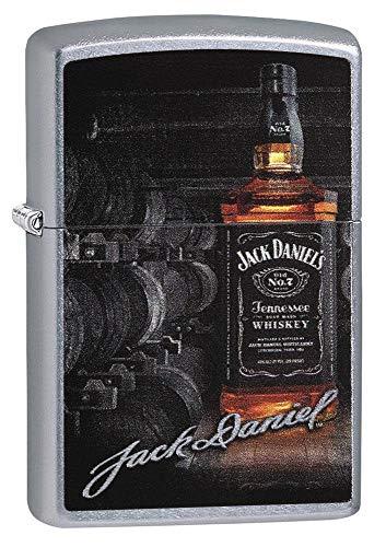 Zippo Jack Daniels Feuerzeug | Winddicht nachfüllbar Gas Feuerzeug | Jack Daniels Geschenke | Zippo Berühmte M Chrom seidenglänzend