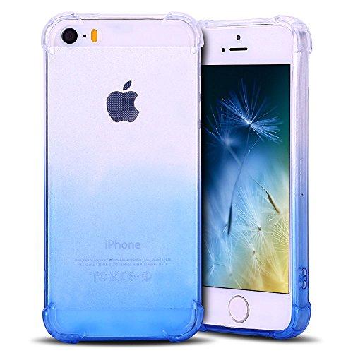 Anfire Funda iPhone 5 / 5S Silicona Carcasa Transparente Suave Gel TPU Bumper Tapa Airbag Anti-Caída Shock-Absorción Anti Rasguños Protector Caso Caja Cubierta Trasero Color de Degradado - Azul