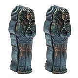 Amosfun 2 Unidades de Acuario Mama Figura Resina egipcia Rey Tutanchamun Pharao Sarkophag Sarg Grabstein histórica Escultura para Acuario decoración