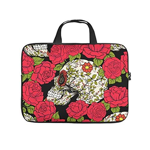 Funda para portátil de neopreno resistente con diseño de calavera y rosas rojas, para Halloween, blanco, 12 pulgadas,