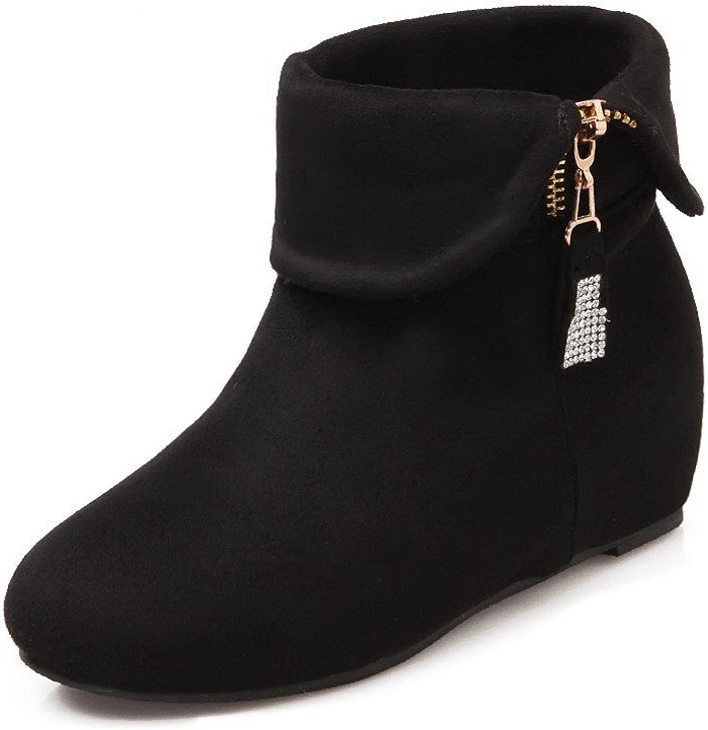 WeenFashion Women's Solid Imitated Suede Kitten-Heels Chains Round Closed Toe Boots
