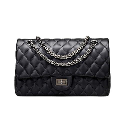 8bf7737ce961 Sheli Branded Classic Medium Black Quilted Plaid Soft Lambskin Leather  Shoulder Crossbody Handbag for Woman