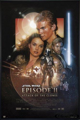 Star Wars Poster Episode 2 Attack of The Clones (93x62 cm) gerahmt in: Rahmen schwarz