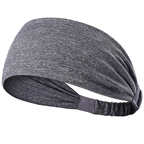 Calbeing Yoga Headbands for Women - Wide Non Slip for Running Workout and Fitness Gray