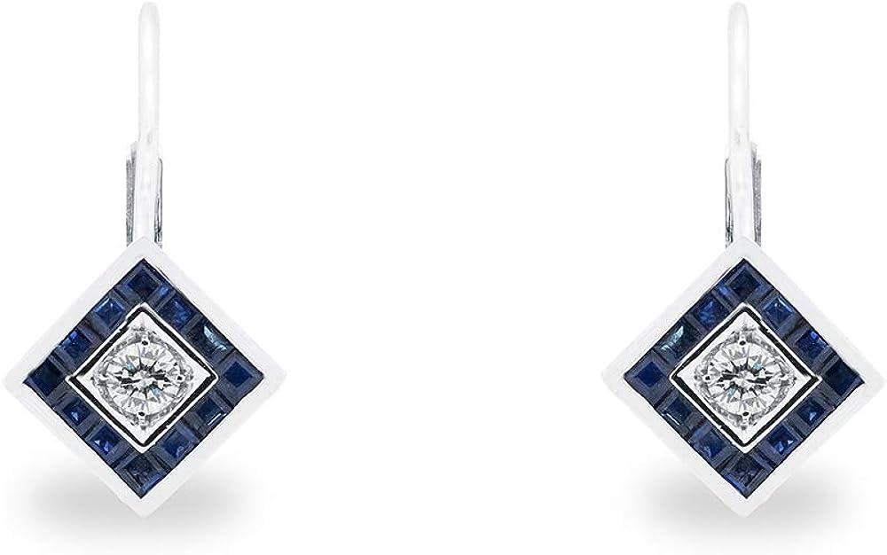 B.&c. gioielli orecchini oro bianco 18 kt zafiri e diamanti orecchini02
