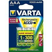 Varta Power Accu 1000 mAh Rechargeable AAA Batteries - 4-Pack