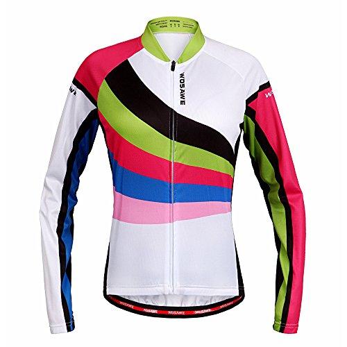 Wosawe Damen-Fahrradtrikot, langärmlig, atmungsaktiv, 4D gepolsterte Hose, Damen, Regenbogen-Trikot, Medium