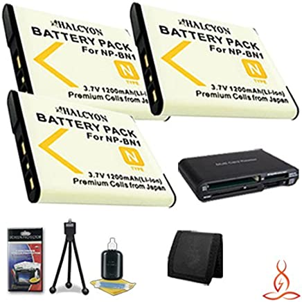 Two Halcyon 1200 mAH Lithium Ion Replacement NP-BN1 Battery and Charger Kit Memory Card Wallet Multi Card USB Reader Deluxe Starter Kit for Sony DSC-QX100 Digital Camera Module for Smartphones and Sony NP-BN1