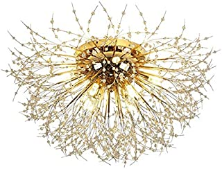 Vogvigo Lustre en pissenlit en cristal moderne (attaché au plafond) Lustres de feu d'artifice à 6 lumières pour salon, cha...
