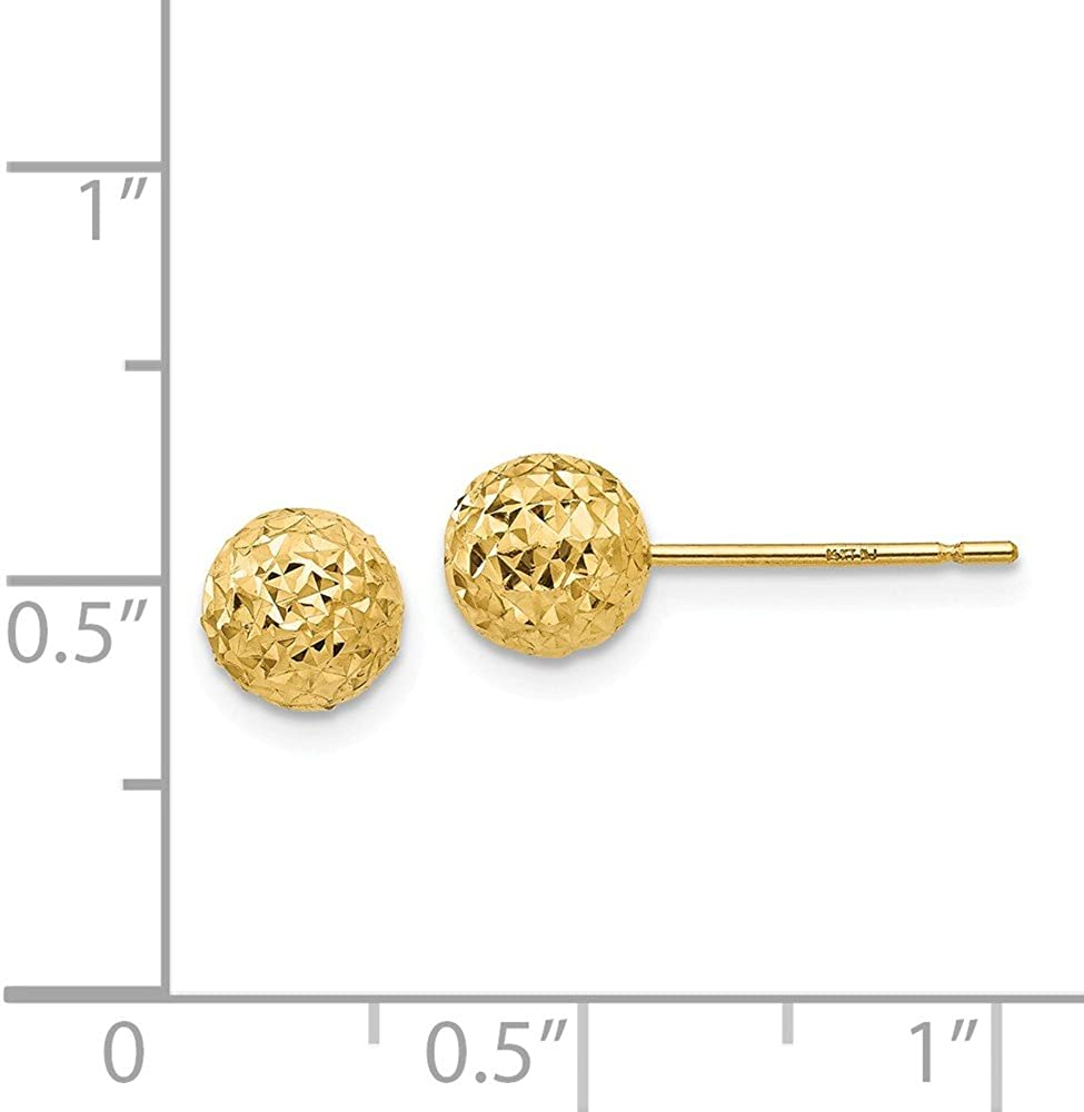 14k Yellow Gold Diamond-Cut Ball Post Studs Earrings 6mm