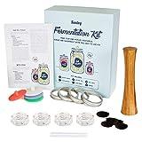 Fermentationsset mit Gewichten & Deckeln - Weithalsglas - Fermentationsset - Holzstampfer, 4...